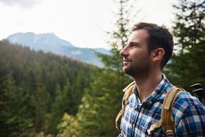 Man hiking mountains